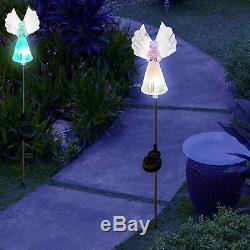 Ensemble De 2 Lampes À Del À Changement De Couleur De Pieu De Jardin À Énergie Solaire Pour Anges En Fibre De Verre