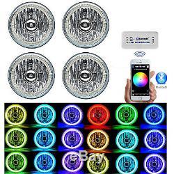 Ensemble De Phares Dhi 6000k Cachés Halo Angel Eye Avec Changement De Couleur Bluetooth Rgb Smd 5-3 / 4