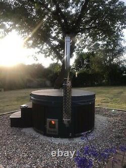 Entièrement Équipé En Fibre De Verre En Bois Bain À Remous Air Ou Hydro Bulles + Led, Wood Fired