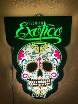 Exotico Tequila Led Sign Man Cave Garage Décor Crâne De Sucre Léger Changement De Couleur