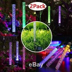 Extérieur Led Rgb Solaire Cristal Bubble Tube Lampes De Jardin Décor Lampe Changer La Couleur