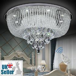 Flush Plafond Lumière Chandelier Télécommande Ctrl + Bluetooth 3 Couleurs Véritable Cristal
