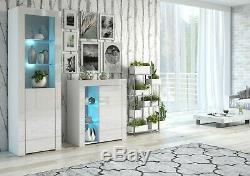 Gloss Blanc Compact Bibliothèque Affichage Étagères Cabinet 1 Verre Porte Bleue Led Lily