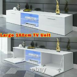 Grand 160cm White Tv Unit Cabinet Stand Matt Body & High Gloss Doors Led 2 Draws