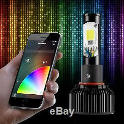 H10 2in1 Bright 6000k Ampoules De Phare Led + Changement De Couleur Contrôle Devil Eye App
