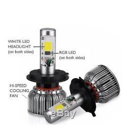 H1 2in1 Led Phares Ampoules Couleur Changeant Demon Eye Pour Projecteur + Réflecteur