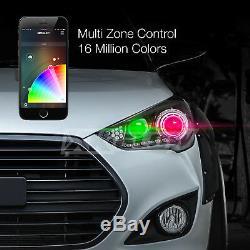 H8 Ampoules De Phares À Del À Double Fonction + Application De Changement De Couleur Pour Smartphone Devil Eye