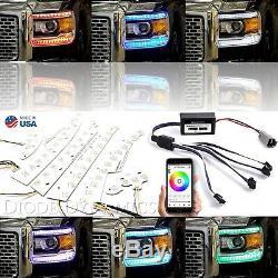 Jeu De 14-15 Barres Bluetooth Gmc Sierra Rgbw À Del Pour Phares À Couleurs Changeantes