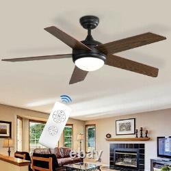 Lames En Bois Variables De 52'' Ventilateur De Plafond Lumière 3 Minuterie De Vitesse Lampe Led Avec Télécommande