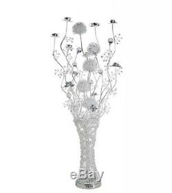 Lampadaire De Luxe De Luxe En Argent Chromé Vase À Fleurs 120 Del À Changement De Couleur