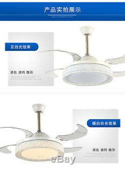Lampe De Lustre À Changement De Couleur Avec 4 Lames Rétractables Pour Ventilateur De Plafond À 42 Del