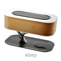 Lampe De Table De Chevet Bluetooth Intégré Haut-parleur Et Chargeur Sans Fil, En Forme D'arbre