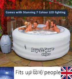 Lay Z Spa Vegas Bain À Remous 6 Personne Vient Avec Des Lumières Led Uk Stock