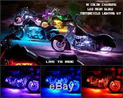 Le Changement De Couleur A Mené Le Kit 12k De Lumière Au Néon De Moto Indienne À Distance Sans Fil 12pc