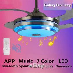 Led Moderne 7 Couleur De Lumière Ventilateur De Plafond De Musique Modification De La Lampe Du Ventilateur À Distance / App Contrôle