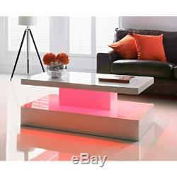 Led Table Basse En Blanc Haute Brillance Avec Changement De Couleur