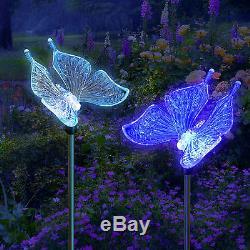Lot De 2 Énergie Solaire De Jardin Butterfly Garden Stake Changement De Couleur Led