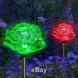 Lot De 2 Énergie Solaire De Jardin Fleur Rose Garden Stake Changement De Couleur Led