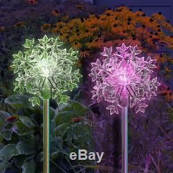 Lot De 2 Solar Powered Snowflakes Jardin 3d Jardin Stake Changement De Couleur Led