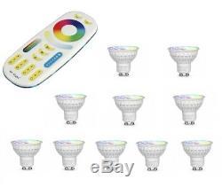 Mi-light 4w Gu10 Rvb + Cct Changement De Couleur De Led + Télécommande Wifi Chaud Et Froid
