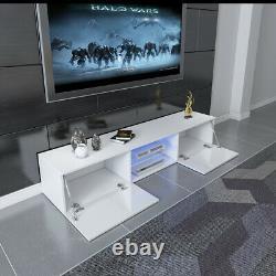 Moderne 16cm Tv Unit Cabinet Tv Stand Matt Body & High Gloss Doors Led Light Uk