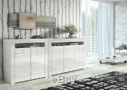 Moderne Blanc Laqué Blanc Matt Portes Haut Cabinet Armoire Nouveau Grand Bahut