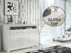 Moderne Blanc Laqué Portes Haut Blanc Mat Cabinet Armoire Large Unité Enfilade