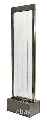 Mur D'eau À Bulles Primrose Avec Lumières Led À Changement De Couleur 1.84m Inox S