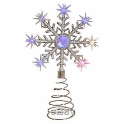 Noël En Haut Du Sapin Clignotant Étoile Flocon De Neige Light Up Changement De Couleur Led Décor