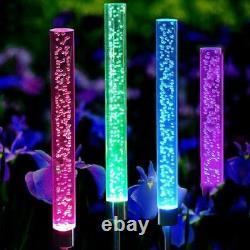 Outdoor Solar Led Rgb Crystal Bubble Tube Lights Garden Decor Lamp Color Change