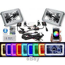Paire D'ampoules Dhi Phare 6000k Bluetooth À Changement De Couleur Rvb Smd Led