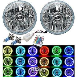 Paire De Phares Angel Eye Avec 7 Led Rvb Cob Multicolores Blanc Rouge Bleu Vert