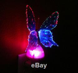 Papillon À Fibre Optique Led Lampe De Nuit Lampe À Changement De Couleur Rose