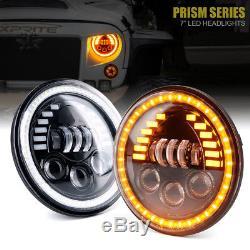 Phares De La Série 85w Led De Xprite 7 Prism Avec Drl Pour Jeep Wrangler 1997-2018