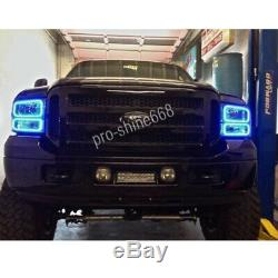 Pour 05-07 Ford F-250 Changement Multi-color Shift Led Rgb Phare Halo Bague