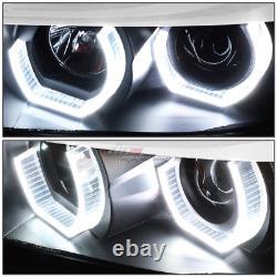 Pour 06-08 Bmw E90 Série 3 Black Led 3d Rgb Color Change Angel Eyes Phare