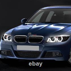 Pour 09-12 Bmw E90 Série 3 Chrome Led 3d Rgb Color Change Angel Eyes Phare