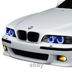 Pour 96-03 Bmw E39 Série 5 Black Led 3d Rgb Color Change Angel Eyes Phare