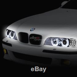 Pour 96-03 Bmw E39 Série 5 Chrome Led 3d Rgb Changement De Couleur Angel Eyes Phares