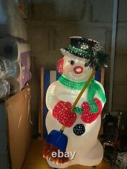 Premier Fibre Optic Snowman With Hat & Scarf S'allume Et Change De Couleur