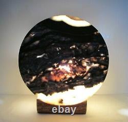 Rare 13 Noir Accent Onyx Stone Lune Lampe De Table En Forme De Table Collectible Un D'un Genre