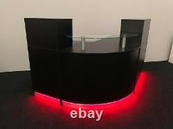 Réception Desk Black Led Lights, Télécommande, Changement De Couleur, Étagère En Verre