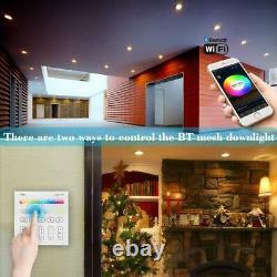 Rgb Led Smart Downlight Wifi App Contrôle Panneau De Plafond Lampe Ronde Spotlight Uk