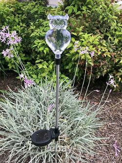 Set De 2 Solar Powered Owl Yard Garden Couleur Changement De Lumière Led