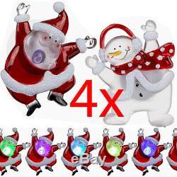 Set De 4 Led De Noël Figurine Changement De Couleur Ornement De Noël D'aspiration 9cm Nouveau