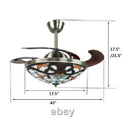 Style 5 42 Plafond Rétractable Ventilateur Lampe Led Lustre Couleur / Changement De Vitesse Remoe