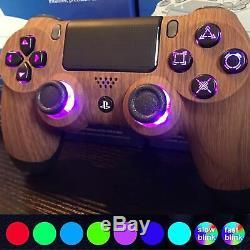 Sur Mesure Playstation 4 Led Controller Boutons De Changement De Couleur Bois Ps4