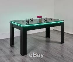 Table À Manger Moderne À Del Avec Table De Cuisine Moderne À 6 Places Assises, Blanc, Noir