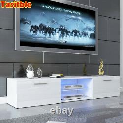 Tasitble Grand 160cm White Tv Unit Cabinet Stand Matt Corps High Gloss Led 2 Draw