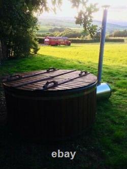 Thermowood Fibreglass Hot Tub 316ansi Chauffage Extérieur Au Bois Chaud + Jacuzzi + Led